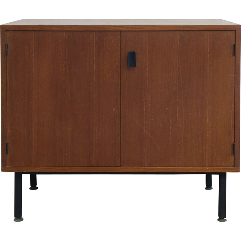 Vintage teak sideboard with black lacquered metal handle, 1960
