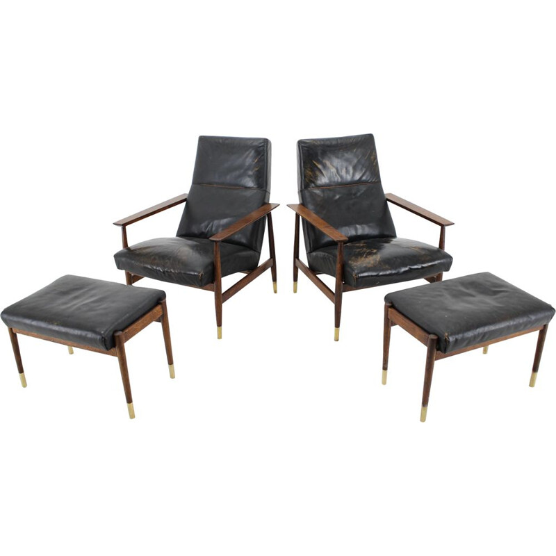 Pair of vintage leather armchairs with their ottoman, 1960