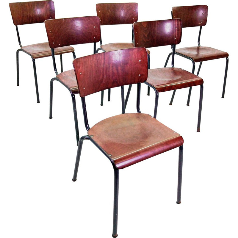 Set of 6 PAG plywood school chairs, 1960