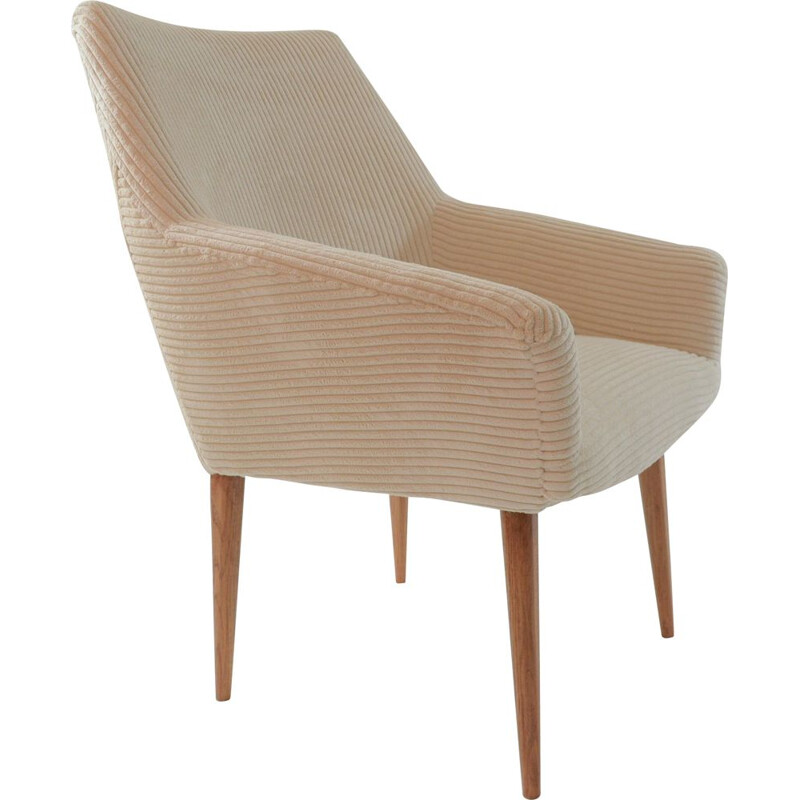 Vintage armchair Coquille in ivory color