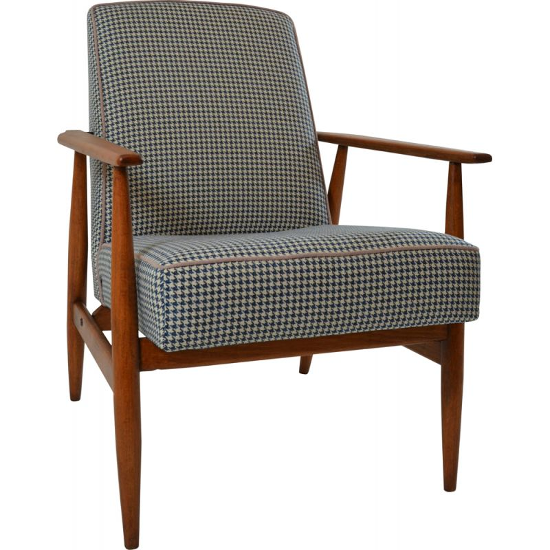 Vintage Fox armchair with blue houndstooth pattern