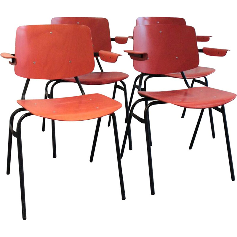 Suite of 4 industrial chairs by Kho Liang Le for CAR Katwijk