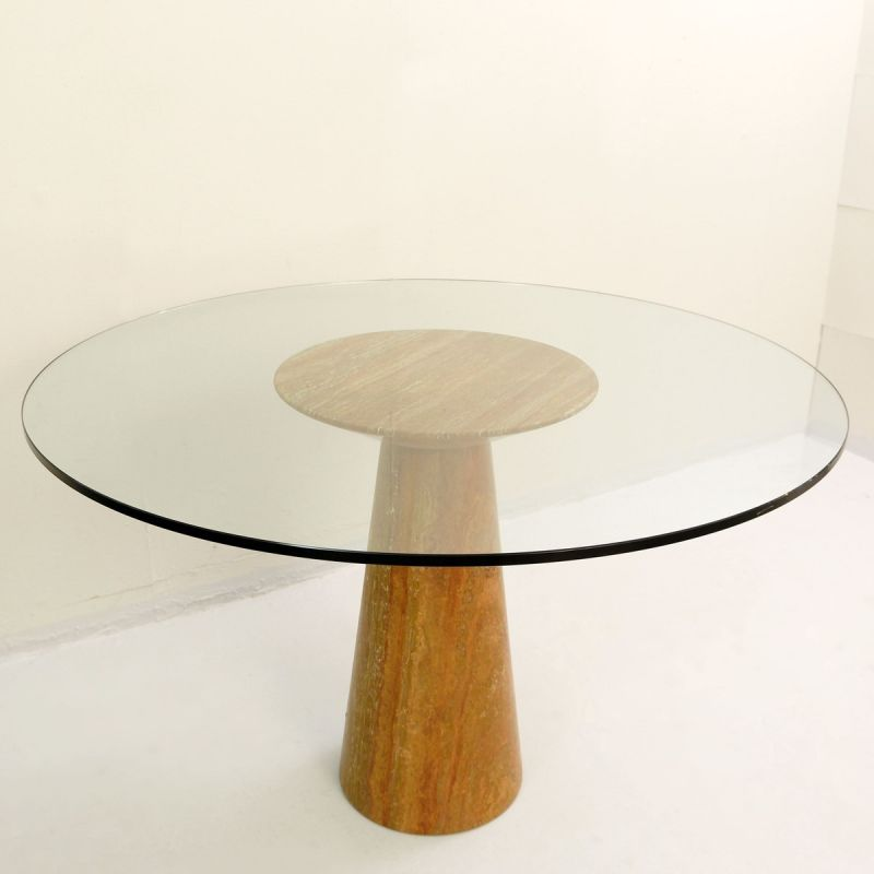 Vintage Round Dining Table In Red, Vintage Round Table