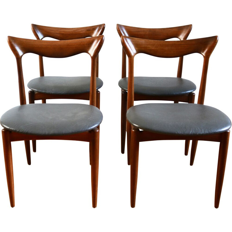 Suite of 4 vintage Scandinavian teak chairs by Henri Walter Klein