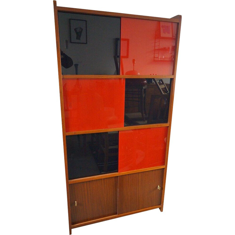 Vintage wooden and glass bookcase 1950