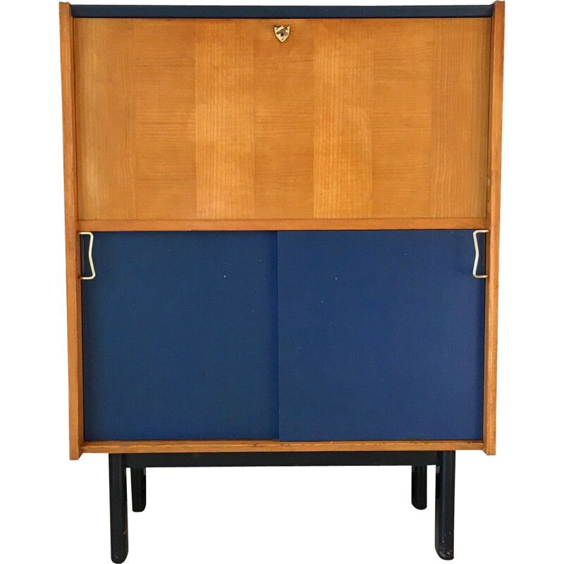 Vintage brass and imitation leather sideboard, 1950