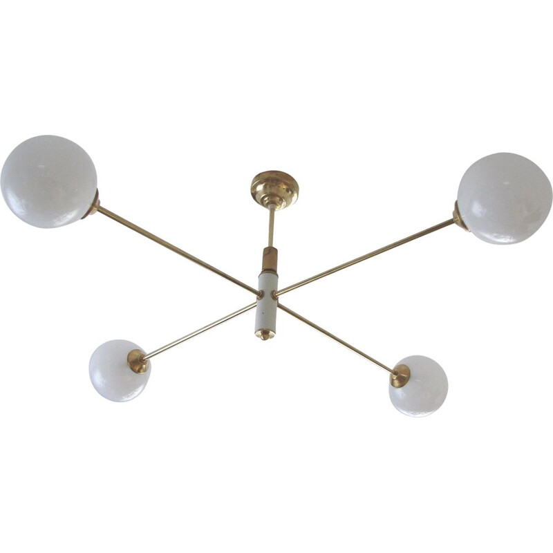 Vintage minimalist chandelier in brass, plastic and glass, 1960s