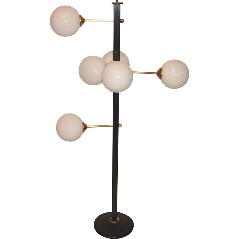 Vintage floor lamp in brass and glass, 1970s