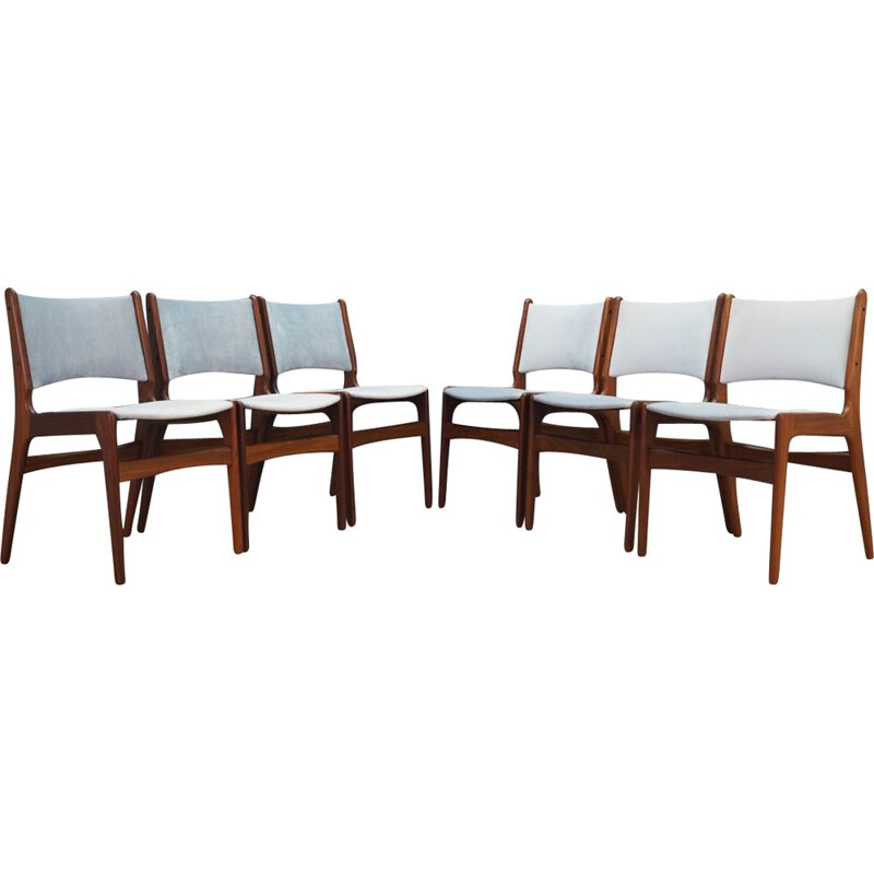 Set of 6 vintage teak chairs by Henning Kjaernulf, 1960