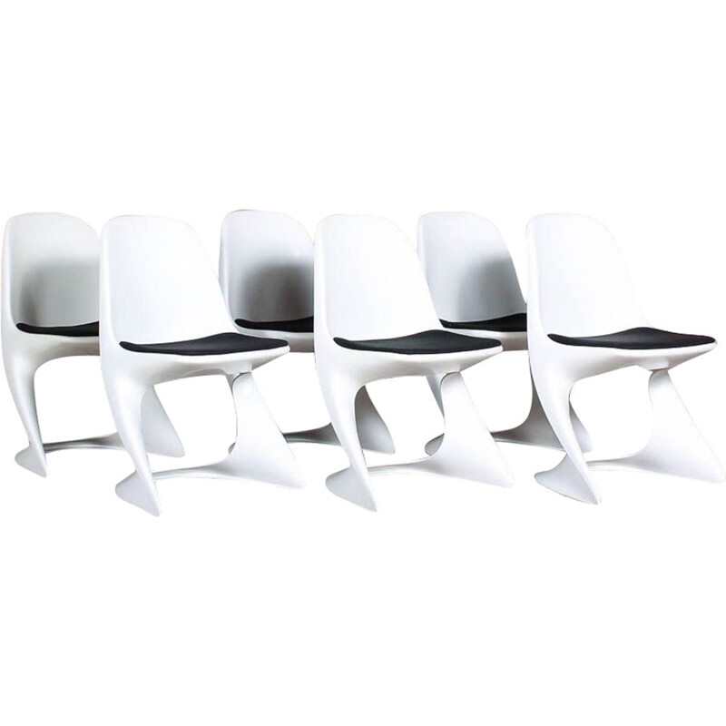 Set of 6 Vintage White Casalino Chairs by Alexander Begge for Casala