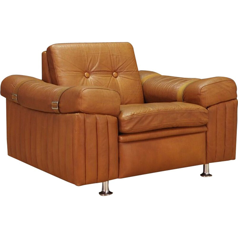 Vintage brown leather armchair by Svend Skipper, 1970s