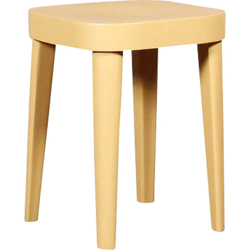 Vintage low stool in solid beech wood by Fischel