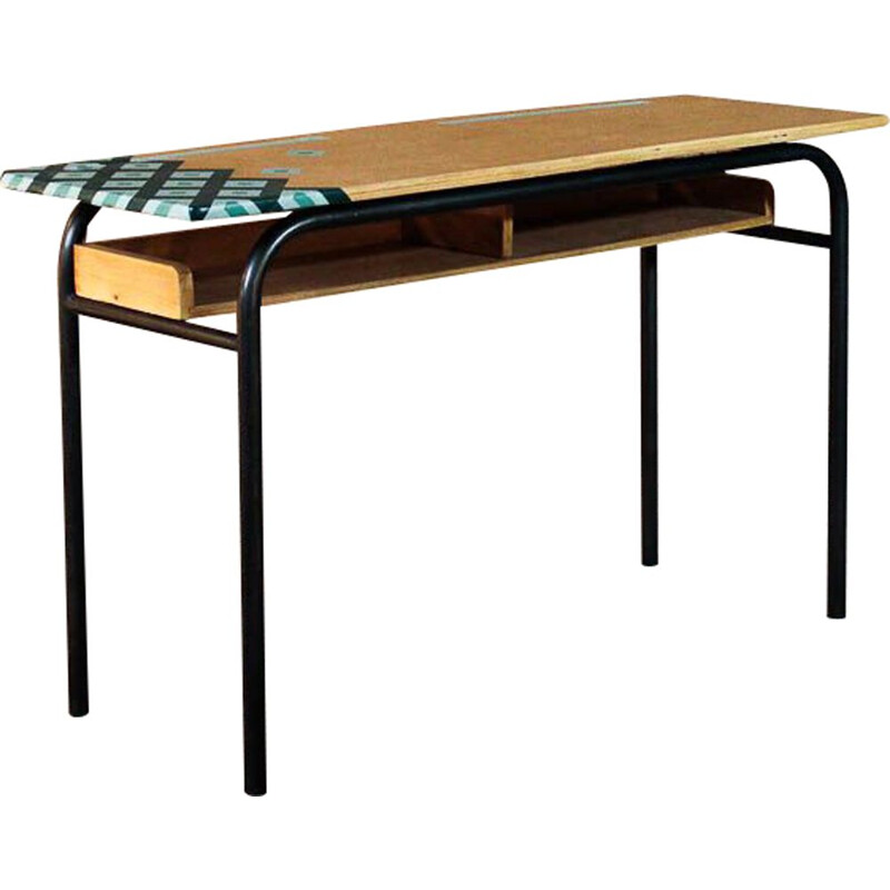 Vintage school desk in steel and solid wood, top with graphic design