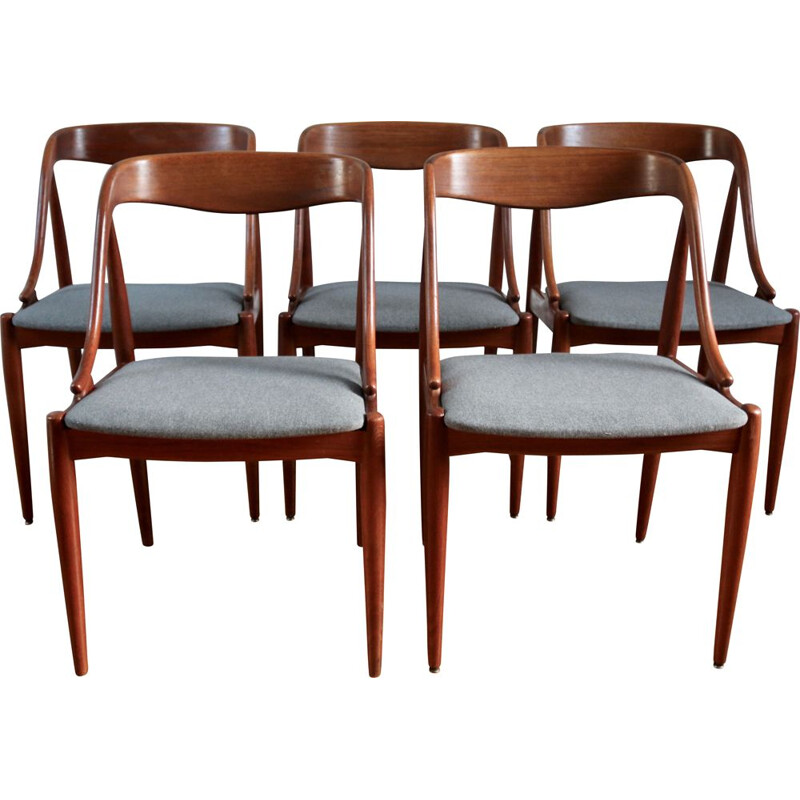 Series of 5 Scandinavian teak chairs by Johannes Andersen, 1960