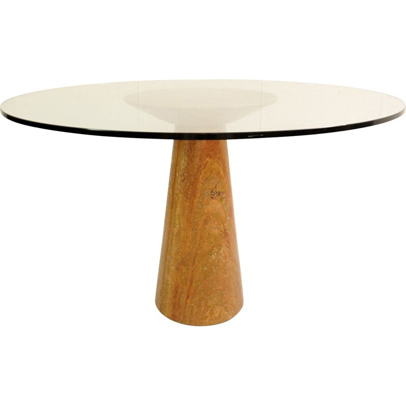 Vintage Round Dining Table in Red Travertine and Glass by Angelo Mangiarotti