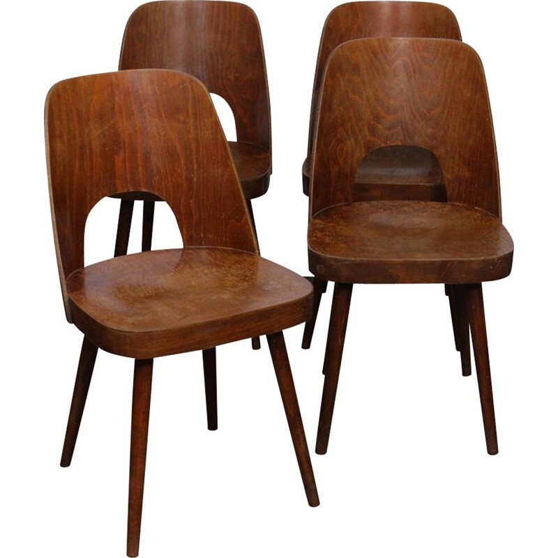 Set of 4 wooden vintage chairs by Oswald Haerdtl, 1960