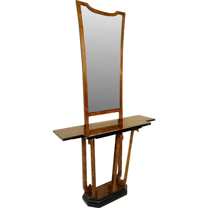 Vintage Italian Art Deco Walnut Console with Mirror