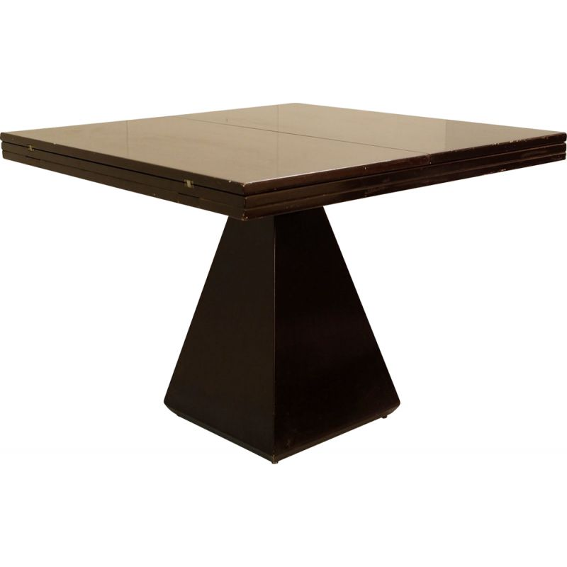 """Vintage """"Chelsie"""" Extendable Italian Brown Lacquered Table By Vittorio Introini"""