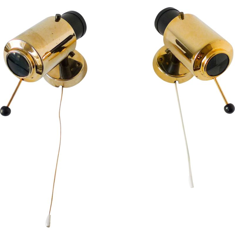 """Pair of vintage """"Zodiaque"""" wall lights by Jacques Biny, 1950s"""