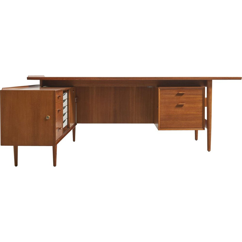Vintage teak desk by Arne Vodder, 1950s