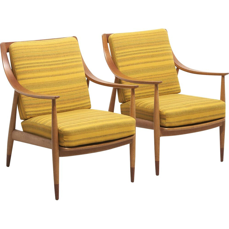 Pair of vintage armchairs FD 144 by Peter Hvidt and Orla Mølgaard-Nielsen, 1953
