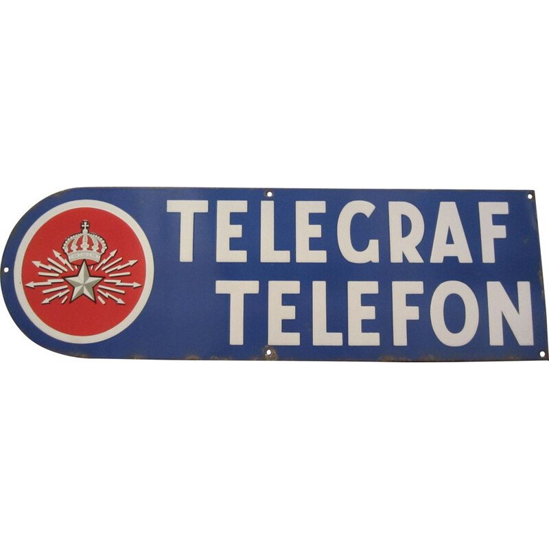 Vintage enamelled plate telephone and telegraph, Sweden