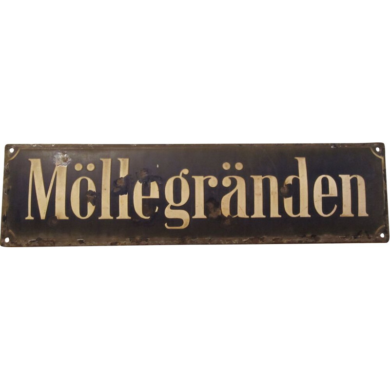 Vintage enamelled plaque, Sweden