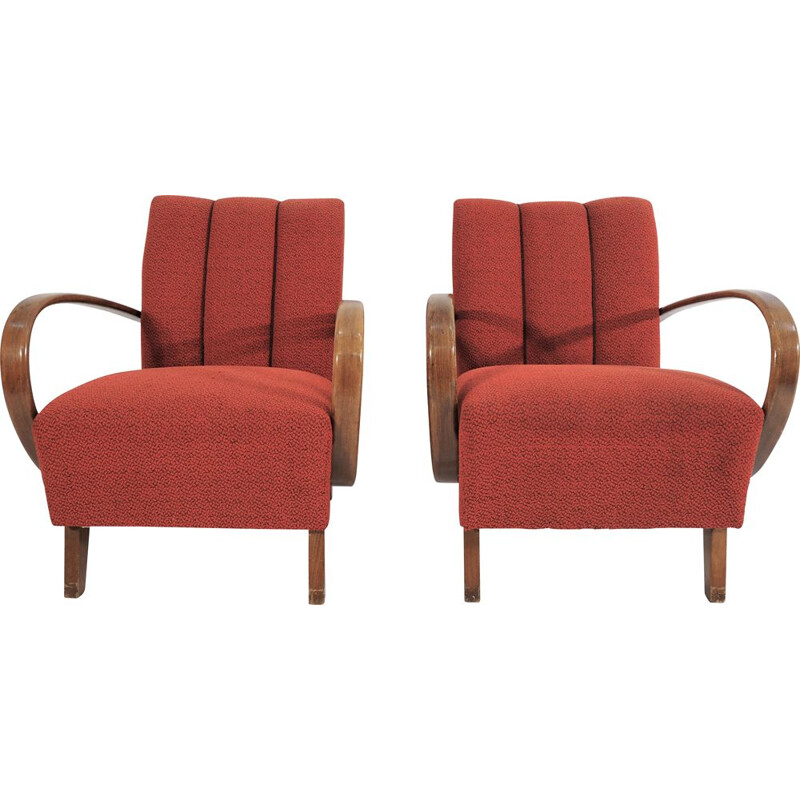 Set of 2 vintage armchairs by Jindřich Halabala, 1950s