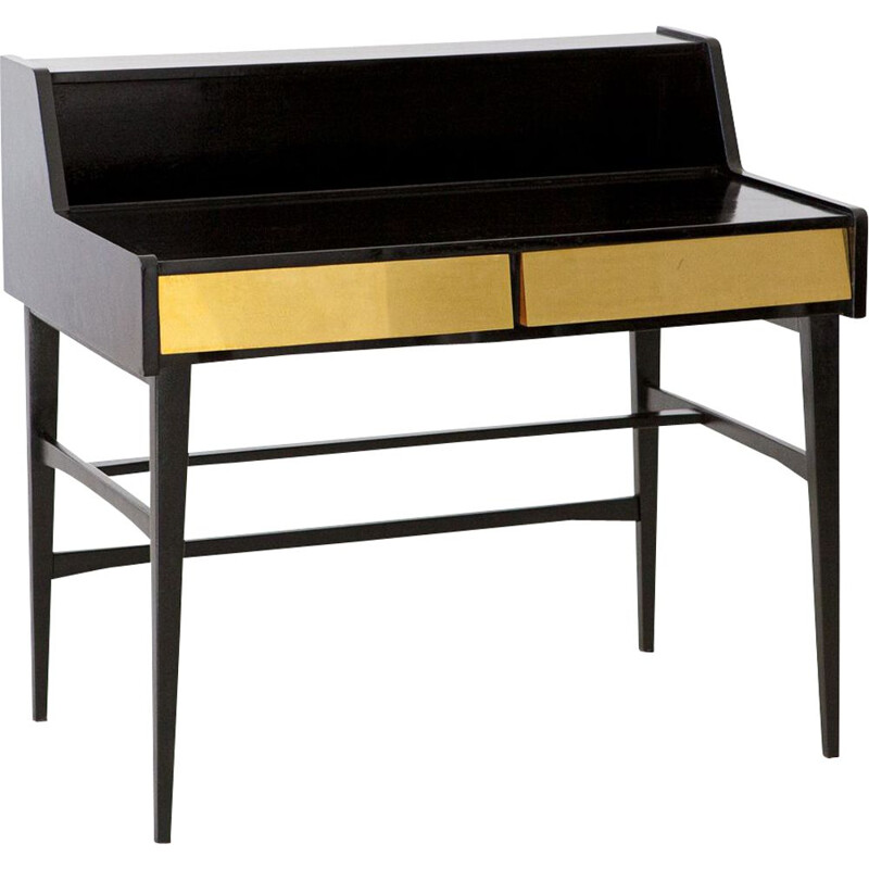 Vintage Black Writing Desk with Brass Drawers, Italy