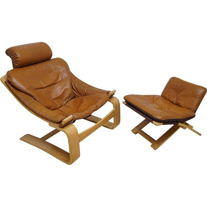 Vintage cognac leather kroken lounge chair & ottoman by Ake Fribyter for Nelo Möbel, 1970s