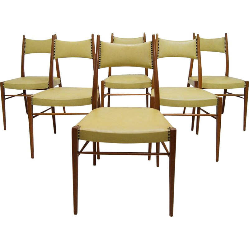Set of 6 vintage Austrian dining chairs, 1950