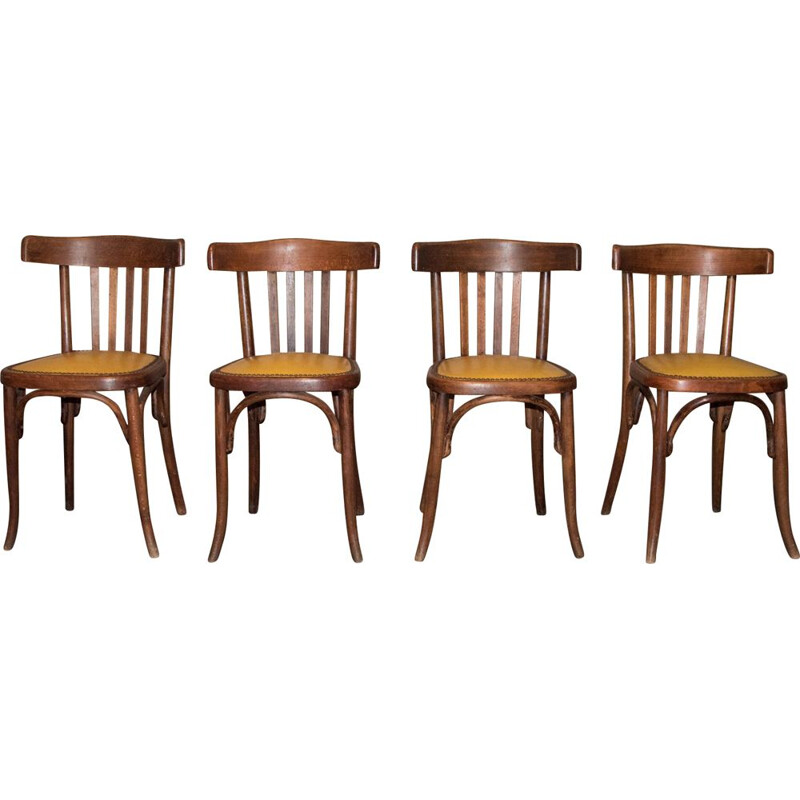 Suite of 4 vintage chairs by Fischel , 1929-1934