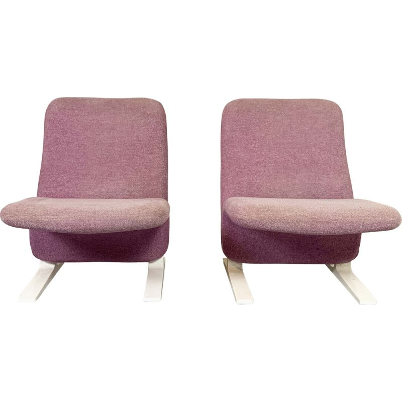 Vintage pair of lilac Concorde Easy Chairs by Pierre Paulin for Artifort, 1960s