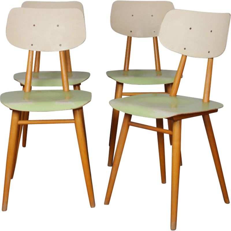 Suite of 4 vintage beige and green chairs edited by Ton, 1960