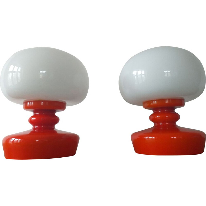 Pair of vintage glass table lamps, 1970s
