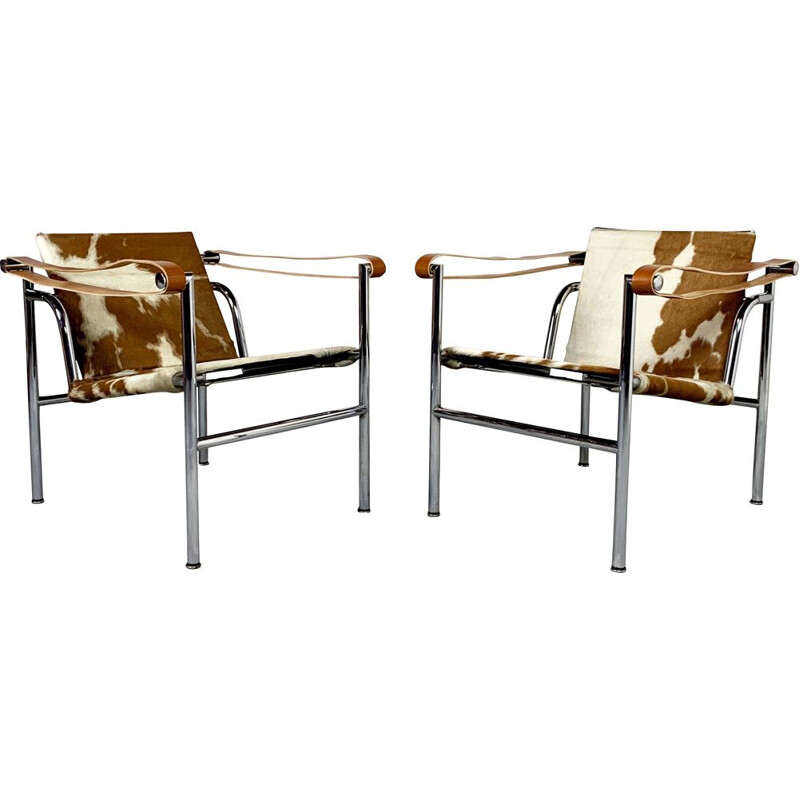 Vintage pair of LC1 armchairs by Le Corbusier for Cassina, 1970s
