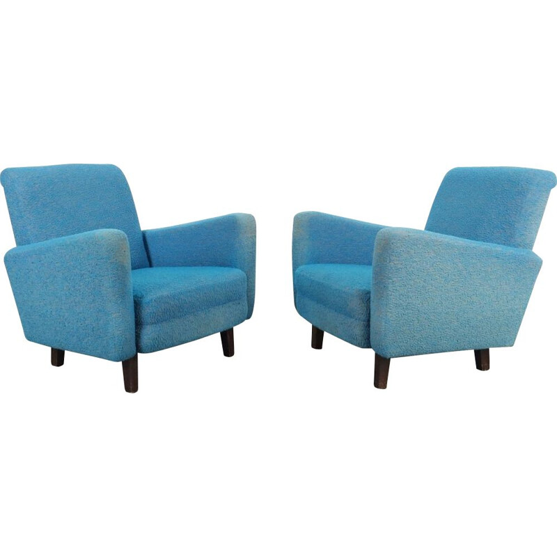 Pair of vintage blue armchairs, Czechoslovakia, 1960