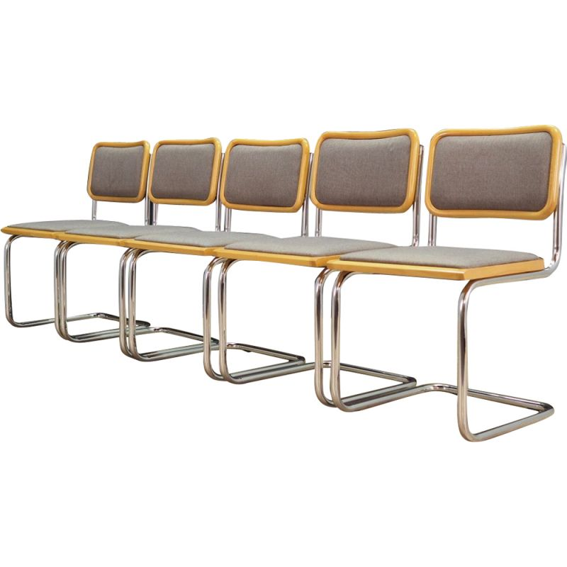 Set of 5 vintage chairs in grey fabric, 1980