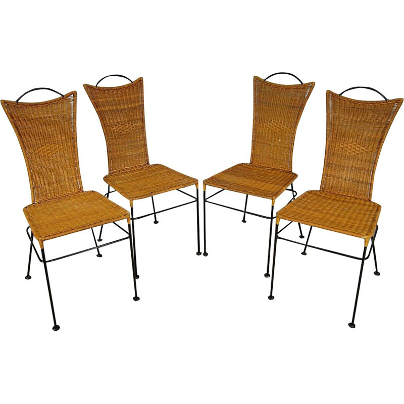 Set of 4 vintage iron and rattan chairs, 1960s