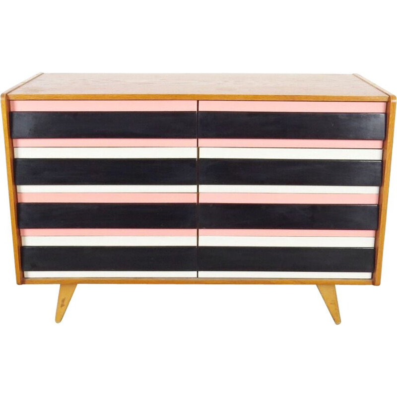 Vintage black, white and pink sideboard by Jiri Jiroutek, 1960