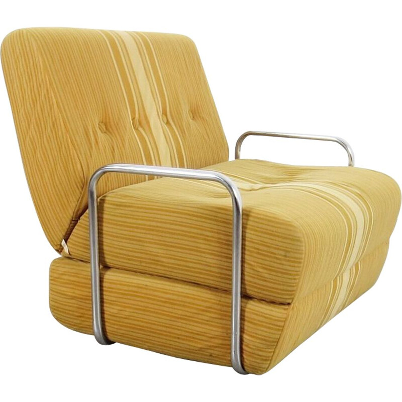 Vintage yellow tubular armchair, Czechoslovakia, 1970