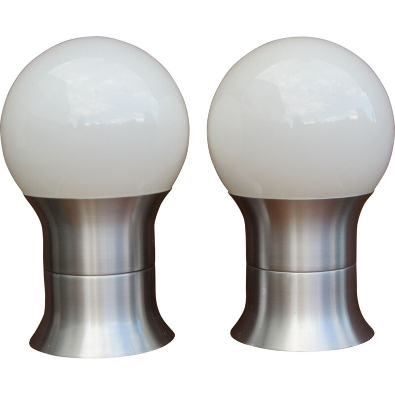 Pair of vintage Scandinavian Hemi Klot 2 brushed aluminium lamps, 1970
