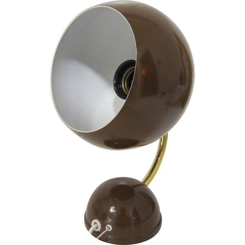 "Scandinavian vintage ""eyeball"" brown and gold metal wall light"