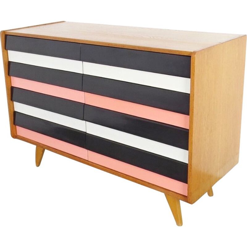 Vintage chest of drawers in black, white and pink by Jiri Jiroutek, 1960