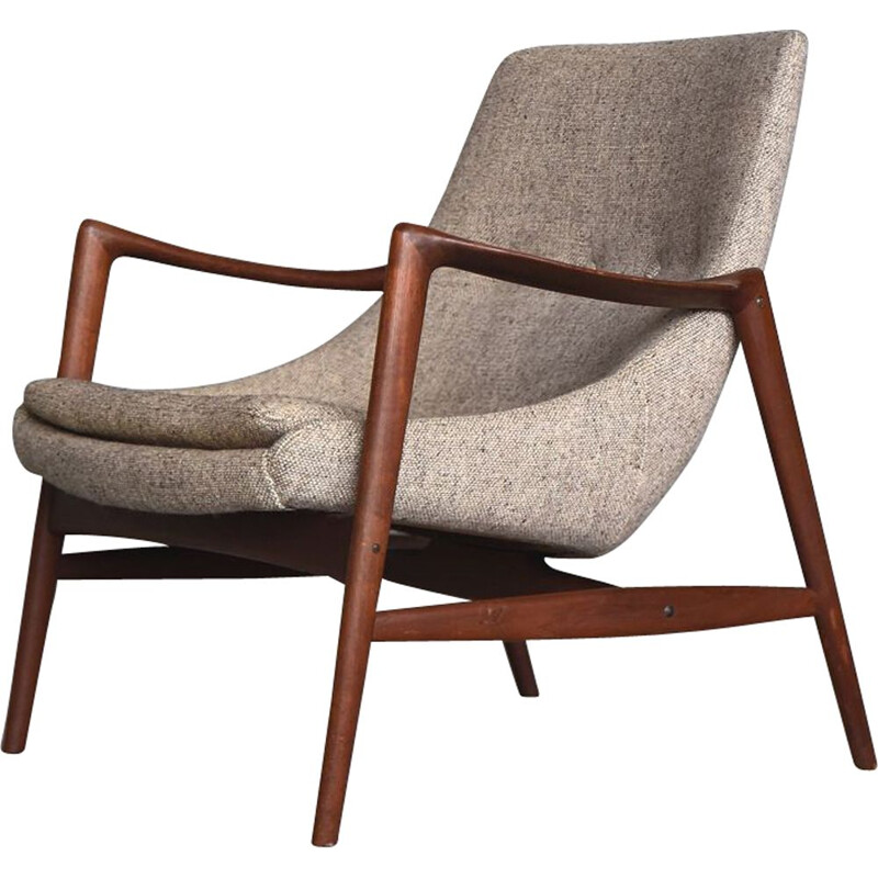 Vintage Norwegian teak seal armchair by Adolf Relling & Rolf Rastad for Peter Wessel, 1960s