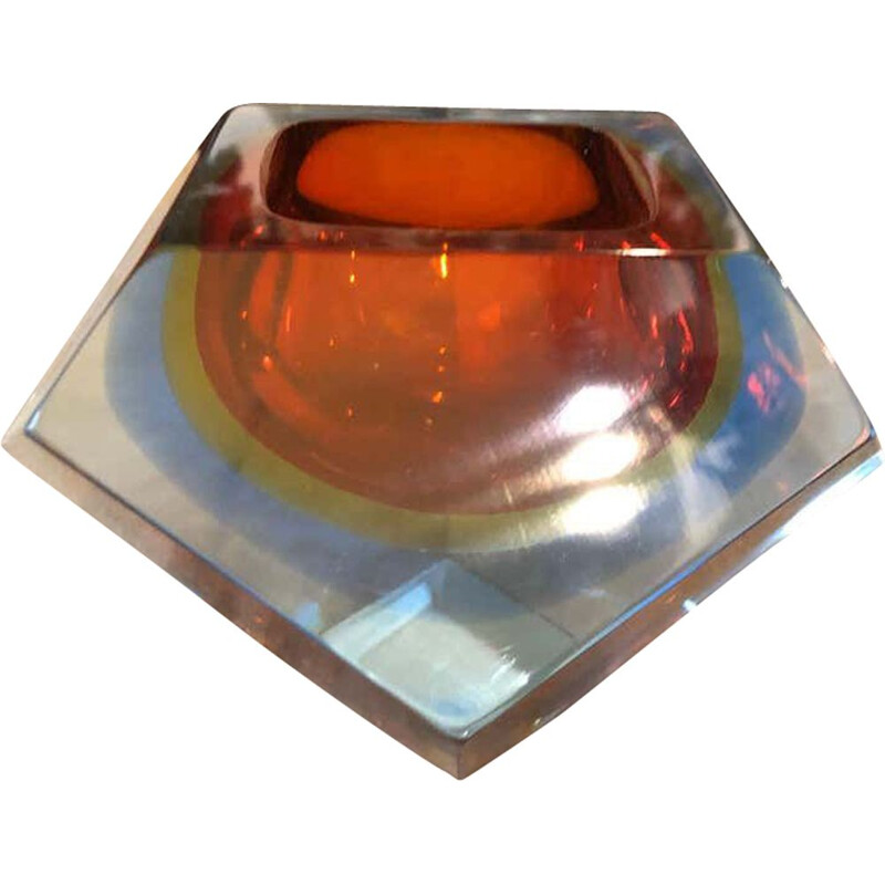 Vintage Sommerso faceted murano glass ashtray, 1970