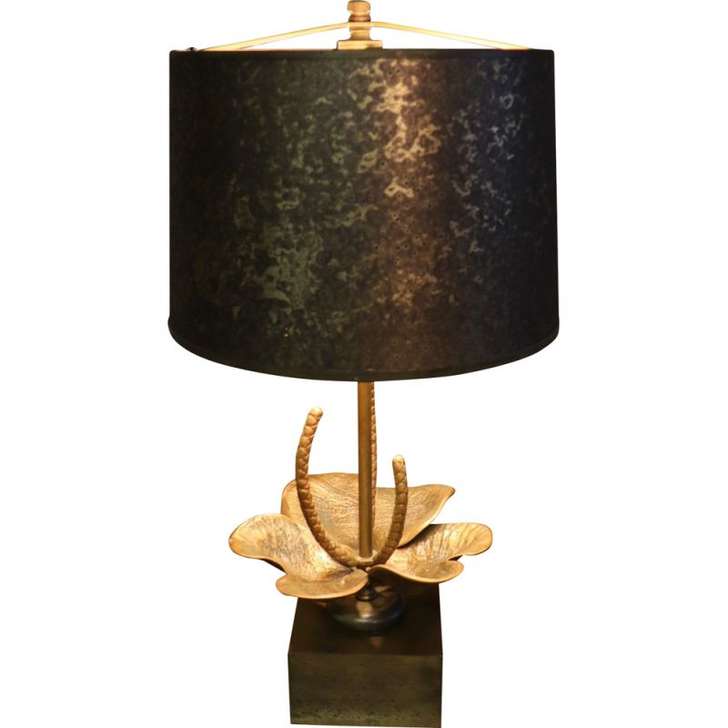 Vintage table lamp 1970 floral design