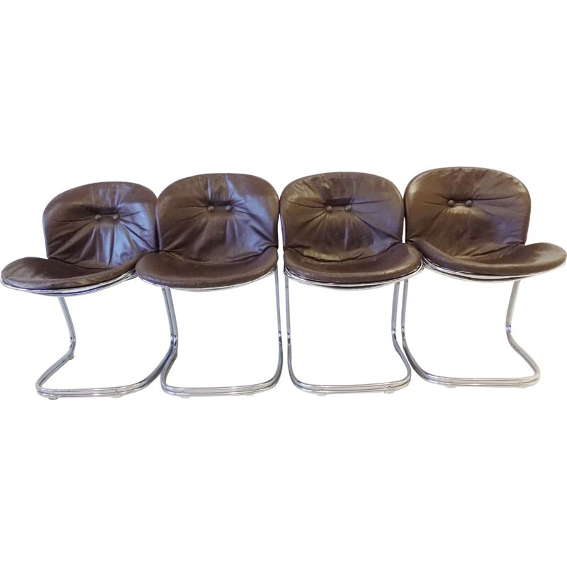 Vintage set of 4 leather dining chairs by Gastone Rinaldi for Rima Sabrina