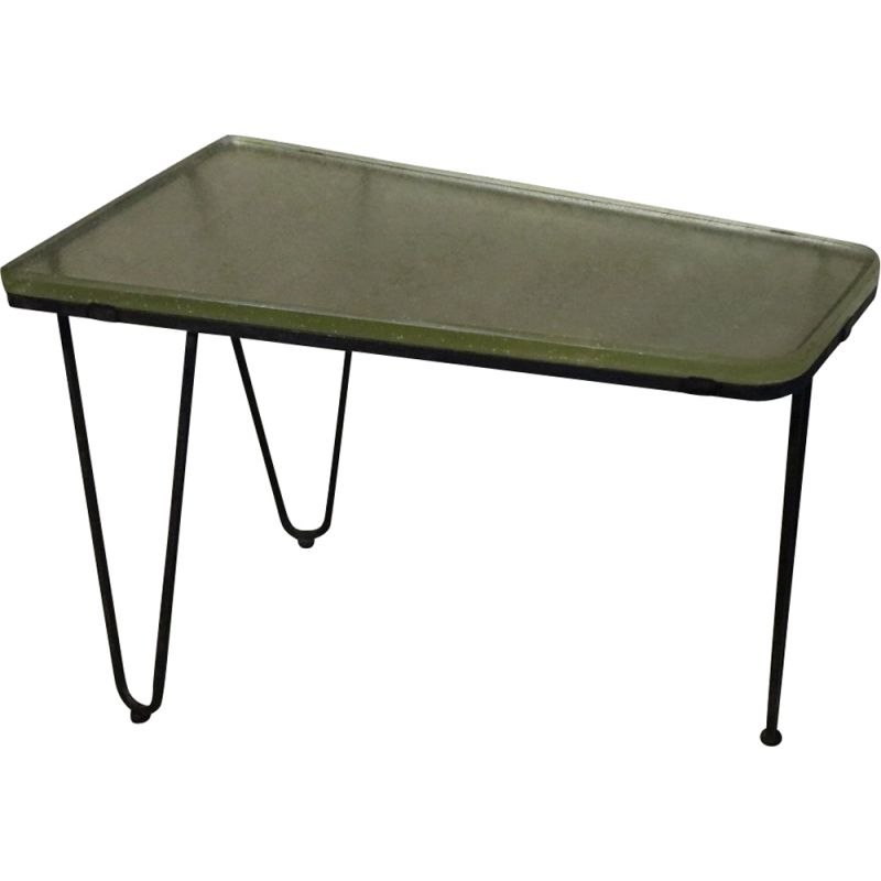 1950's vintage free-form tripod table in glass and metal