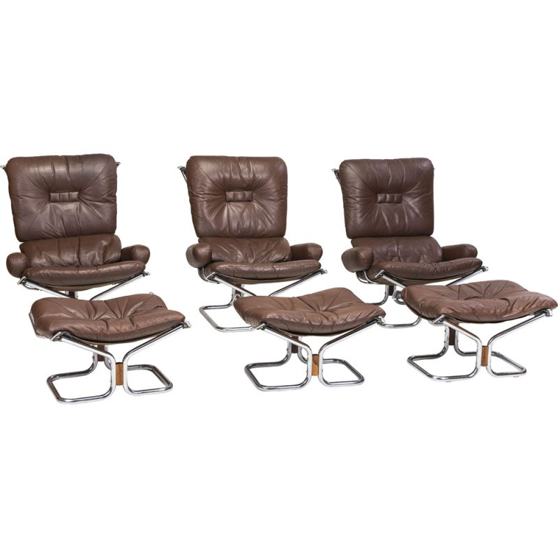 Set of 3 vintage Chrome and Leather armchairs and Ottoman by Ingmar Relling for Westnofa, 1960s